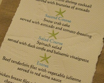 Letterpress Starfish Reception Menu**Beach Wedding**Dinner Menu