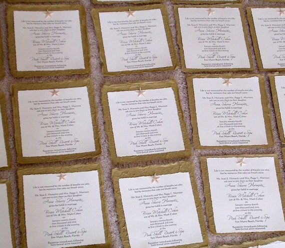 Beach Wedding Invitations With Real Starfish Or Sand Dollar