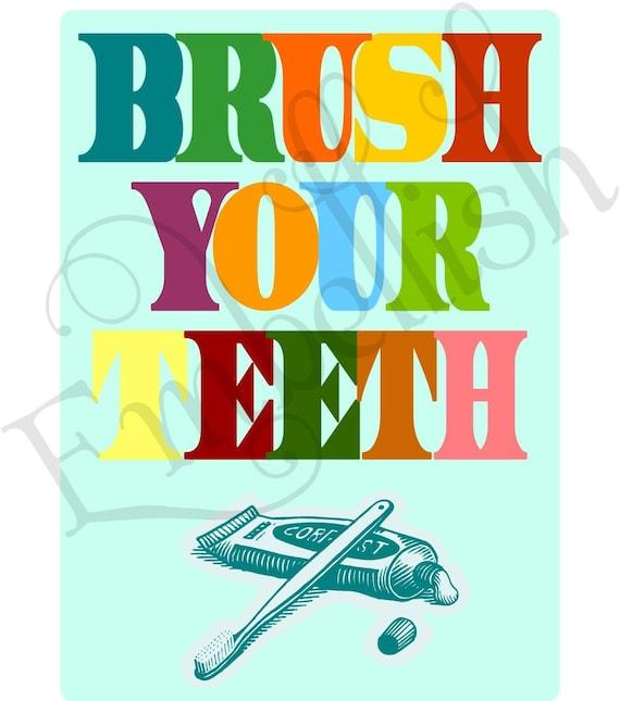 PRINTABLE DIGITAL FILE Childrens Bathroom Wall Art  Print  wash your hands brush your teeth