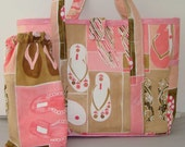 LARGE BEACH BAG WITH WATER PROOF LINER AND MATCHING BAG FOR WET ITEMS BY CLASSIC DESIGN