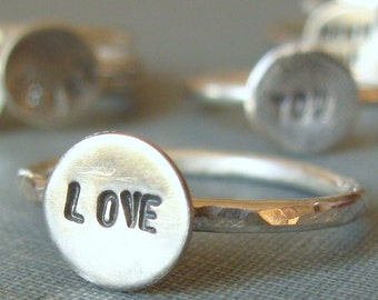 sterling silver stamped ring (one)