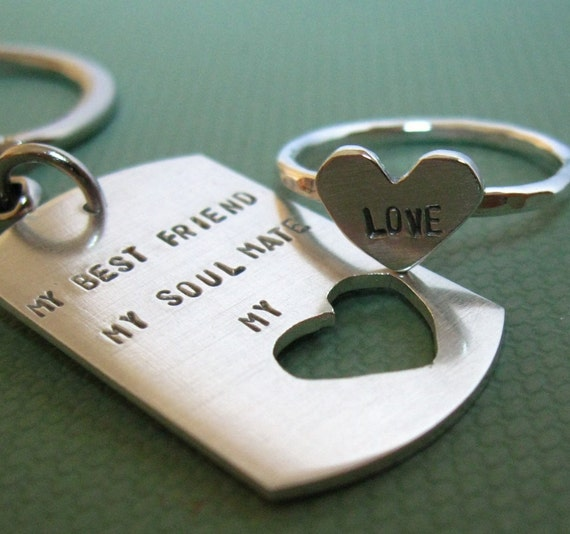 Reserved for Lorae. dog tag chain and sterling silver HEART ring