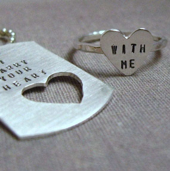 intertwine. dog tag  and sterling silver HEART ring