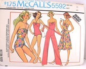 Vintage 1977 McCall's Swimsuit, Bodysuit, Skirt and Pants Pattern 5592  Size 12 Bust 34