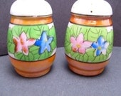 Vintage Lusterware Salt and Pepper Shakers with Flowers