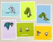 dinosoars, robots, birds and friends (pack of 6 original postcards)
