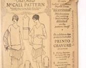 Vintage 1921 Flapper Dress Pattern, McCall 4798