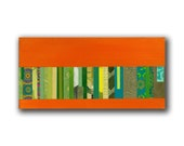 Original Mixed Media Painting: Orange with Green Stripes