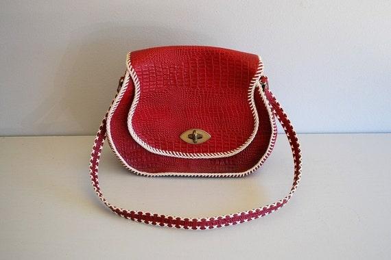 Vintage red and white SADDLEBAG / 1960s WESTERN shoulder bag