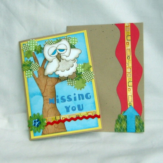 Owl be MISSING YOU handmade greeting card by TeriBears on Etsy