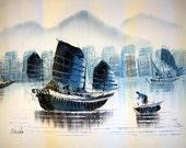 vintage painting ASIAN sampan cityscape canvas
