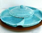 vintage lazy susan - Santa Anita Pottery - robin egg blue - 9 piece set - 1950s