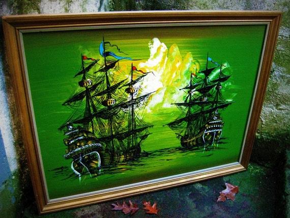 Vintage 70s Pirate Ship Painting Framed Reserved Until 3 23