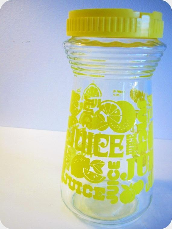 Vintage 70s Lemon Print Glass Juice Jar With Lid