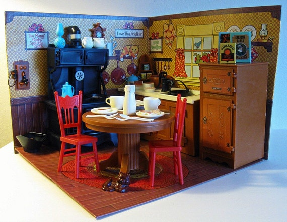 vintage doll house JODYS COUNTRY KITCHEN minitures - Ideal