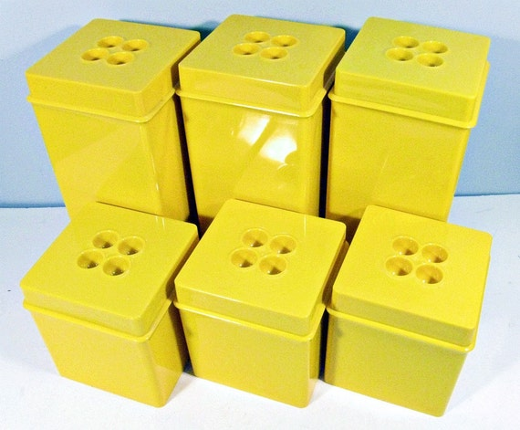 vintage canisters - Dansk of Denmark - yellow - 12 piece set - 1970s