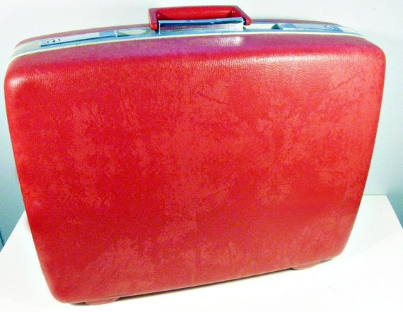vintage suitcase - cherry red - Samsonite Royal Traveller - 1960s