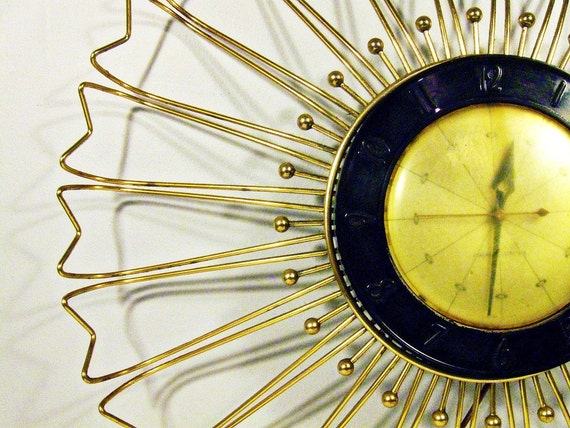 vintage wall clock - starburst atomic mod - brass - General Electric - 20 inch - 1960s