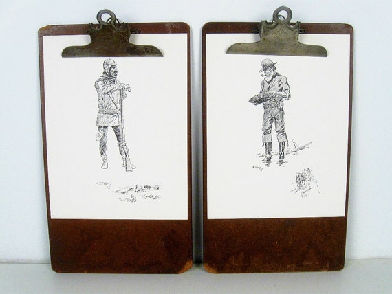 vintage wood clipboards - dark brown - heavy duty - industrial wall display - set of 2