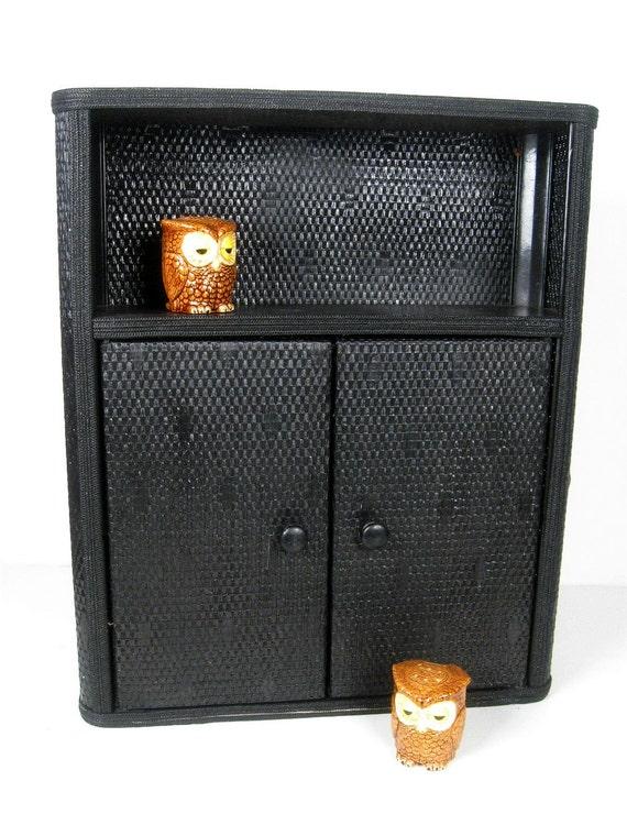 vintage wall cabinet - Lloyd Loom style - black shelf - cottage style cupboard - 1930s-1940s