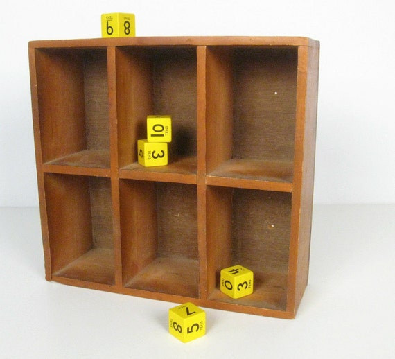 Vintage Six Cubby Wooden Box Wall Shelf By Forrestinavintage