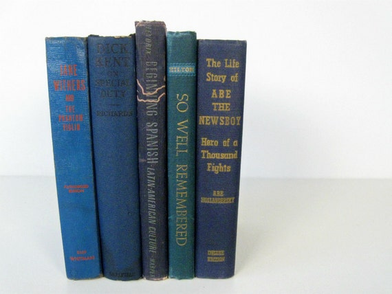 vintage instant library - navy blue book collection - set of 4 - 1920s-1940s