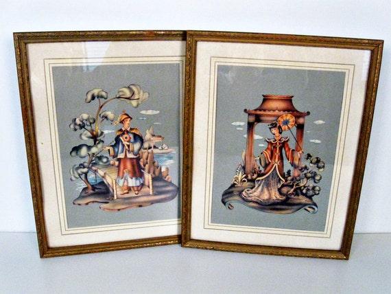 vintage Asian framed prints set of 2 - 1950s
