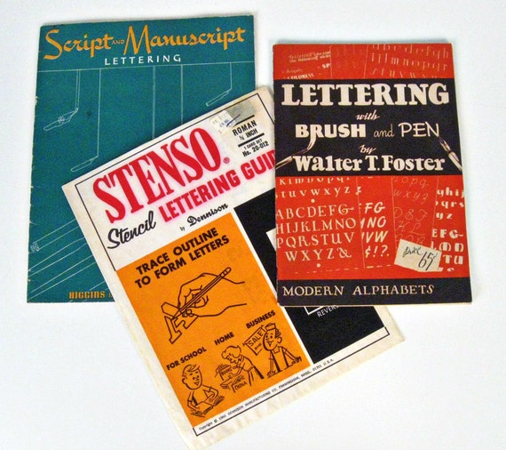 vintage lettering books and stencil set - 1940s-1960s
