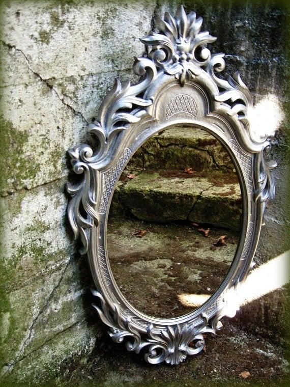 Sale Vintage 60s Oval Mirror Silver Baroque Syroco Style