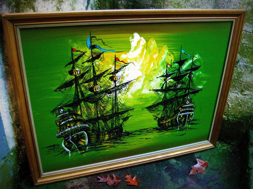 Vintage 70s Pirate Ship Painting Framed Reserved Until 3 23