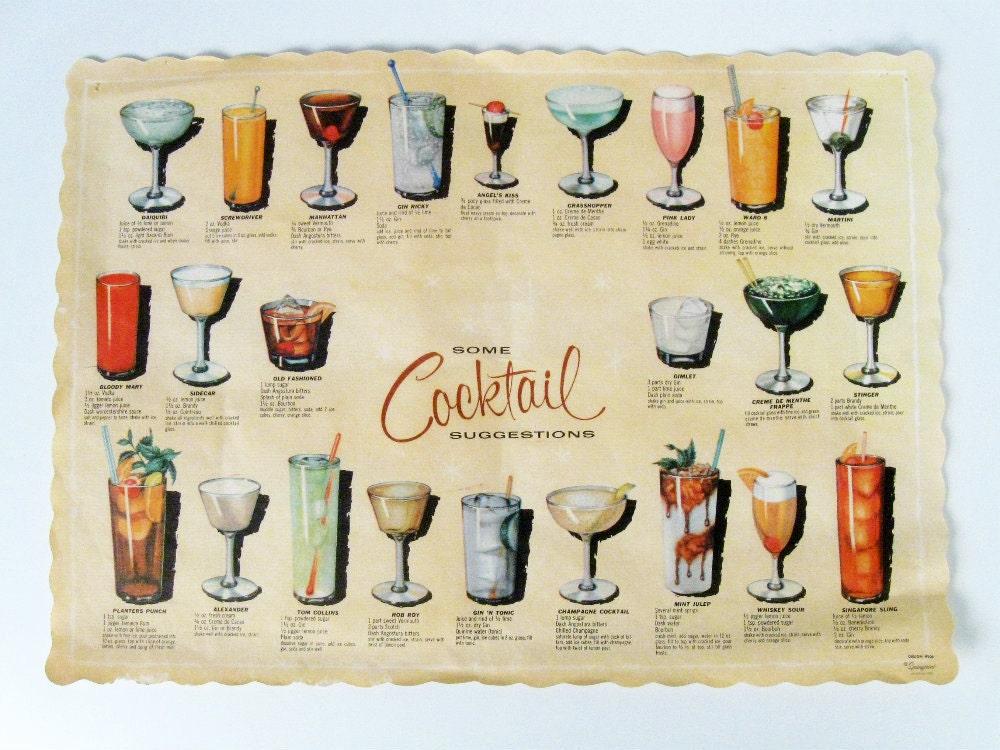 Vintage cocktail recipes paper placemat retro bar decoration for Cocktail x35