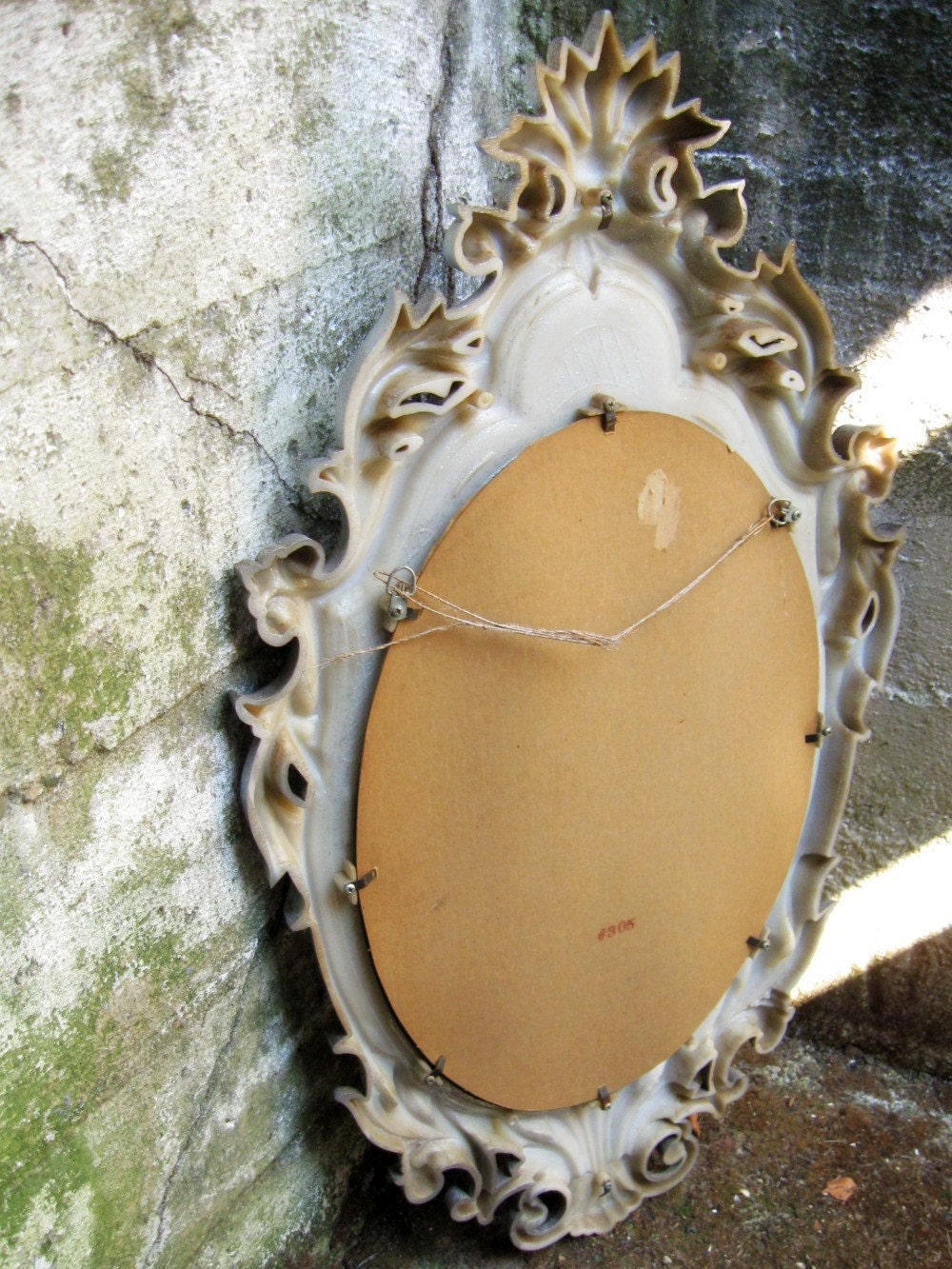 Sale vintage 60s oval mirror silver baroque by for Baroque mirror canada