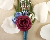 Origami Rose Boutonniere - Garden Peacock Wedding Boutonniere, Groom Boutonniere, Groomsmen Buttonhole, Feather Boutonniere,