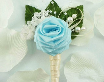 Origami Rose Boutonniere - In Your Dreams Style, Wedding Boutonniere, Lace Boutonniere, Grooms Boutonniere, Baby Blue Boutonniere