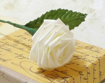 10 Single Origami Roses in Ivory White