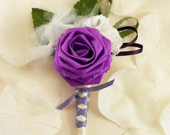 Purpilicious, Origami Boutonniere - Purple Boutonniere, Grooms Boutonniere, Groomsmen Boutonniere, Lace Boutonniere, Wedding Boutonniere