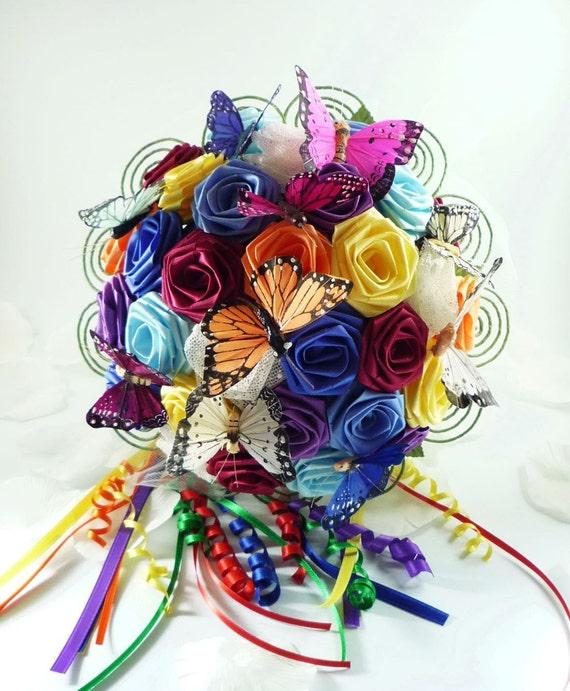 Over the Rainbow Wedding Bouquet Bridal Bouquet Butterfly - photo#17