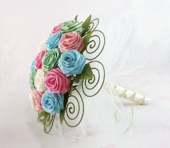 Annabell Origami Rose Wedding Bouquet, Bridal Bouquet (Medium) - SAMPLE SALE Ready to Ship