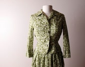 Vintage 1950's 1960's David Crystal Green Floral Cotton Suit Skirt Jacket Small
