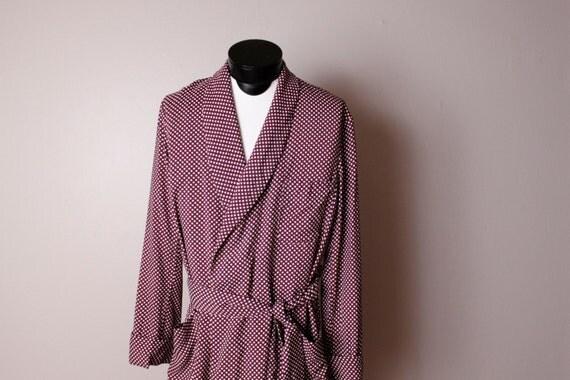 Vintage 1950's 1960's Rayon Maroon Polka Dot Robe Travel Case Men