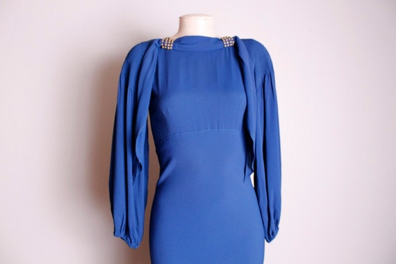 RESERVED for Billie Vintage 1930's Cobalt Blue Rayon Crepe Formal Bias Cut Gown Dress Small XS