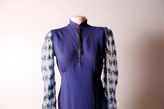 Vintage 1940's Blue Rayon Crepe Lace Sleeve Dress Small