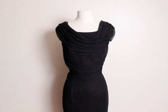 RESERVED for Gabrielle Vintage 1960's Black Silk Chiffon LIlli Diamond Wiggle Dress Large
