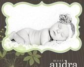 custom photo birth announcement - mod flora.