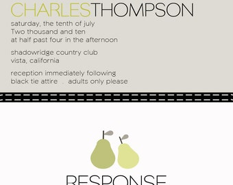 custom wedding invitation with perforated rsvp card - perfect pear.