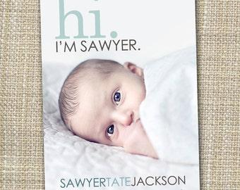 hi birth announcement, hello baby, baby boy announcement, baby girl announcement, Double sided, newborn printable, digital, modern