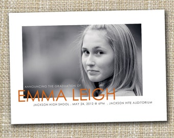 photo graduation announcement printable - modern.