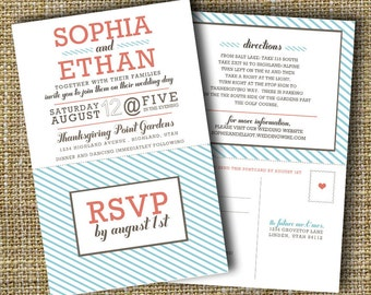 modern wedding invitation with perforated rsvp card - lovely.