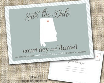 save-the-date, state save the date, custom save-the-date, save-the-date postcard option - save our spot.