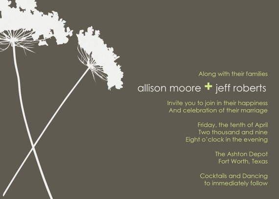 custom wedding invitation, bridal shower, dinner rehearsal, engagement party - mod floral 2